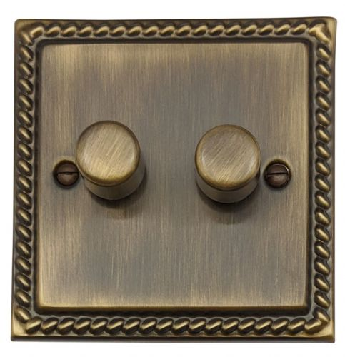 G&H MAB12 Monarch Roped Antique Bronze 2 Gang 1 or 2 Way 40-400W Dimmer Switch